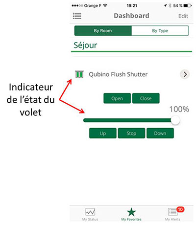 Interface volet roulant